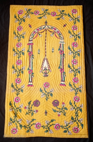 Tokat Block Printed Quilted Prayer Mat, 1900 or so. Rich colors on a beautiful yellow ground.  Contains a wonderful purple.  The designs are finely articulated. It has a very minor,  ...