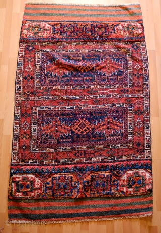Bakhtiyari camel bag panel, 4th Quarter of the 19th Century. Wonderful graphic and deep saturated indigo.  The pile sections are in wonderful soft wool.  All colors are natural.  Excellent  ...