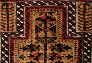 Baluch Prayer Rug, Khorasan, Late 19th century.  The wool is of very fine quality in a very fine weave.  The white around the prayer niche beautifully frames the rug.   ...