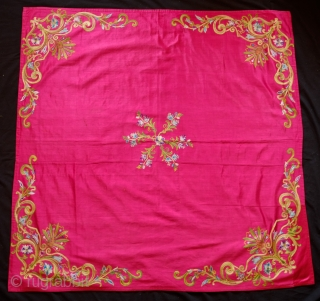Istanbul Tepebasi silk embroidered bohcha, 1900 or so.  The embroidery is very fine and the ground fabric is in a probably cochineal dyed Atlas silk.  The designs are elegantly articulated  ...