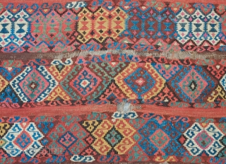 "Kagizman Kilim, 19th Century.  Deeply saturated colors.  The design is in bands of hooked polygons and modified kaikalaks with with ""S"" motifs in place of the hooks.  It has  ..."