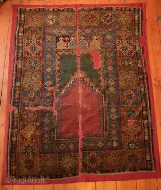 Mudjur prayer rug, late 18th or early 19th century.  Wonderful green above the mihrab.  Small crosses appear in the diamonds in the inner border. Already professionally mounted on linen. 114  ...