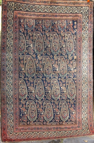 """Antique Persian Malayer, circa 1900-1910, fresh from a Charlotte estate. 4'2"""" by 6'4""""."""