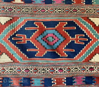 Antique Shahsavan mafrash side panel, last quarter of the 19th century, all dyes natural.  Please ask for additional photos.
