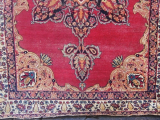 Antique Kerman, 19th century, my best guess around 1870, approximately 4'by 6'.  Edges redone, basically complete but for a few end rows.  Not my usual cup of tea but very  ...