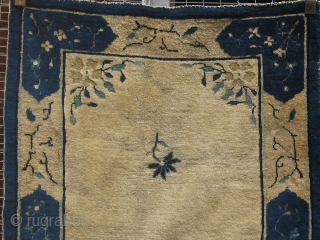 """Antique Chinese rug, 19th Century, with an unusual long format--almost twice as long as it is wide, 36"""" by 70"""", some small areas of wear, one corner slightly compromised but easily repaired(see  ..."""
