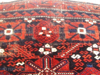 Antique 19th Century Mina Khani Baluch khorjin face, silky wool, floppy handle, finely woven, all natural dyes with the possible exception of a few silk knots that may be fuchsine dyed (see  ...