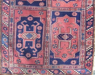 Antique Bergama area Canakkale carpet, circa 1900.  Very unusual format with four large cartouches in the field.  Edges original.  Muted palette with a lovely blue-green not obvious in photos.  ...