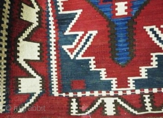 Antique Caucasian Kuba kilim, last quarter of the 19th century, very fine weave, all dyes appear natural, beautiful array of blue including a lovely blue-green, one small early reweave (last photo), 6'by  ...