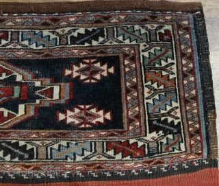 """Antique Veramin torba, circa 1900, in beautiful condition, all dyes appear natural, jewel-like colors, very floppy handle, just bathed.  18"""" by 42"""".  Please ask for additional photos if needed."""