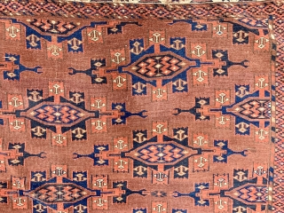 "Antique Yomut main carpet with ""kepse"" gul, circa 1880-1890.  All dyes natural.  Fresh from a Florida estate.  Please ask for additional photos if needed."