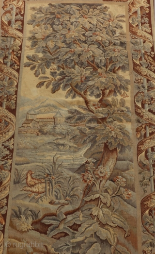 "Antique French 19th century verdure tapestry.  Originally sold by Vojtech Blau in New York in 1990.  From an Atlanta GA estate.  10'6"" by 4'8""."