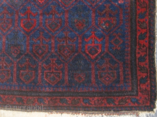 """Fabric-like silky Baluch bag front, full pile, extremely fine weave, beautiful condition.  All natural dyes with shades of navy blue, aubergine, madder, dark green, etc.  29"""" by 25"""".  Please  ..."""