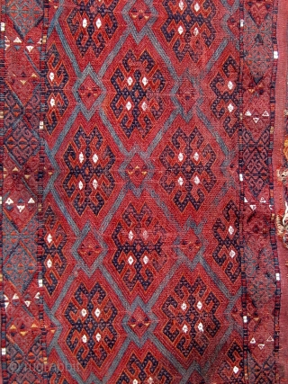 Antique 19th Century Turkmen Yomut (Yomud) group torba, flat woven, extremely fine, all dyes appear natural, some damage as seen.  Please ask for additional photos.