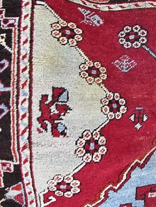 """Antique Anatolian carpet, early 1900s, complete and in fair condition with brown oxidation as expected.  Dyes look good to my eye. 67"""" by 45"""".  Please ask for additional photos if  ..."""