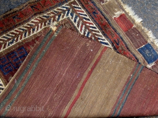 Antique Baluch single bag complete with flat woven back, last quarter of the 19th century, all dyes appear natural.  Please ask for additional photos.
