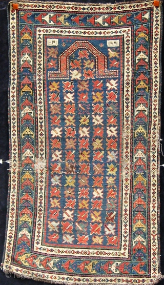 Antique Caucasian (Shirvan?) prayer rug, all dyes natural, floppy handle, circa 1890-1900.  Please ask for additional photos.