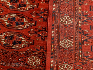 Antique Kizil Ayak chuval, Ersari sub-group, Middle Amu Darya area, with characteristic saturated brick red ground, chemcheh minor guls, in lovely condition, complete skirt and sides. All dyes appear natural, which makes  ...