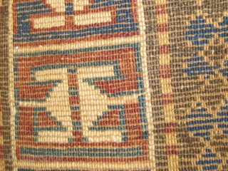 """Antique Moghan or Gendge Caucasian long rug, first quarter of the 20th century, in overall good condition, original sides, mixed dyes.  42"""" by 85"""".  Please ask for additional photos."""