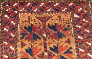 Antique Baluch balisht, with animals at both ends, tree of life design, all dyes natural, original selvages and ends, in good condition with a couple of minor restorations.  Please ask for  ...