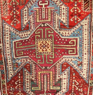 Antique Sewan Kazak Caucasian design long rug, three medallions, with S motif narrow main border. Circa 1890-1910, possibly earlier. Probably woven in Kars area of Eastern Anatolia, where designs can replicate those  ...