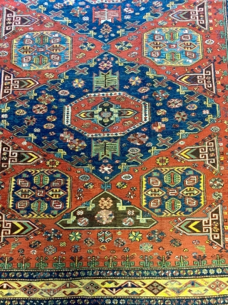Just acquired: late nineteenth century Caucasian Soumak (soumak, sumac...) in the so called Kuba Konaghend format; in wonderful condition and with original braided ends. All dyes appear natural.  Beautiful gold border.  ...