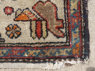 """Antique Geometric Rug, Possibly a Kurdish weaving(?), Measures, 74"""" X 44"""", Shows a little wear at the lower end but no holes, stains or tears. AVAILABLE"""