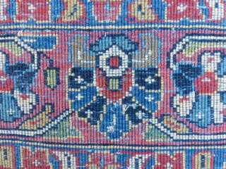 """Antique Kashan Carpet, ca. 1930's 4'3"""" x 7' Medium low dense wool pile on cotton foundation.  Field with central multicolor medallion and floral palmettes designs on navy blue background; Borders with floral motifs on blue  ..."""
