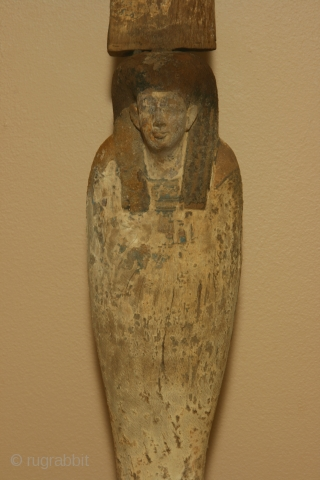 Egyptian wood figure of Ptah-Saker-Osiris with traces of polychrome painting and gold gilding, Late Period, circa 700-100 BC. Dimensions; the figure is 63cm high (25 inches)