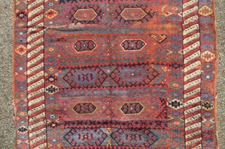 Antique kurdish tribal rug.  Before 1900 Areas of wear and old repaired issues.   Size:238 cm x 130 cm