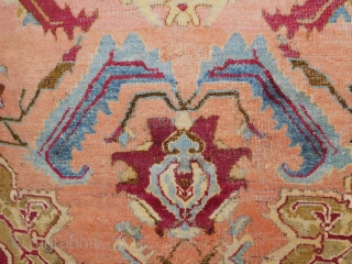 Early Agra Rug  some old repairs  artful piece  circa 1850s or earlier 4'x7'