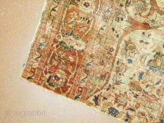 2'7''x4' Silk Heriz Fragment  19th century