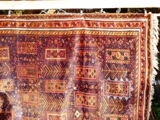 Superb glossy floppy Massive Baluch masterpiece. 11ft. x 6ft 5in. 3.35m. x 1.96m. Silk highlights in green, ivory and magenta. Corrosion to brown and wear to selveges. Approx 100 years old. Soft  ...