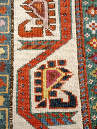 Caucasian Karabagh or Gengie. Distressed state - low pile and very worn areas - see photos. Great funky colours and palate.