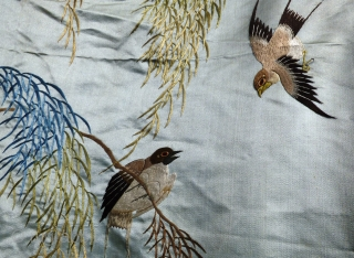 Large Chinese antique silk on silk-satin embroidery, minor damage in places. Birds, plants and insects.