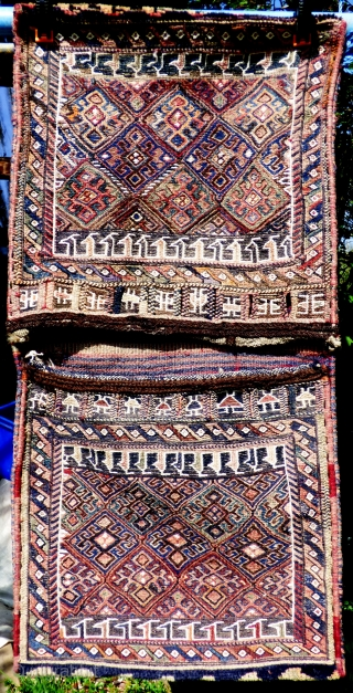 Complete Luri-Bakhtiari khorjin in very good condition, complete with plain-weave back in narrow horizonal bands of colour - see photos. Size: 42 inches x 21 inches 107cm x 53cm