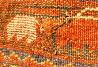 "19th Century South West Anatolian Megri / Makri Rug 6' x 4' 6"" or 185cm x 135cm.  Pure wool  Colours: Dark blue, light blue, aquamarine, canary yellow, mustard yellow, ivory, aubergine, black, red.  Damaged and  ..."