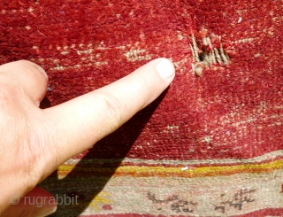 Pair of Antique Turkish Oushak prayer rugs. Distressed condition, dirty and holed in places - see photos. Outer borders missing each end. Selvedges damaged. Foundation showing in places. One tatty corner