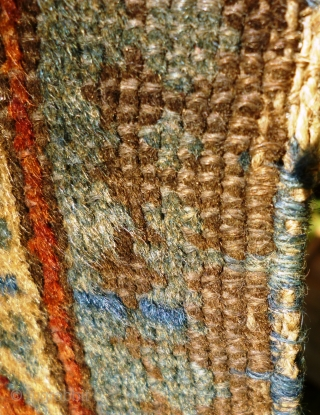 Ancient and charming little Caucasian Kuba rug with Seychour double border and dazzling abrashed main field with lattice of palmettes including pea green highlights. Original condition with a couple of tiny holes:  ...