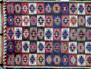 Anatolian kilim circa 1920, great small format example. Wool with white cotton highlights on wool foundation with a stunning palette of many different natural abashed colours. Finely knotted and in excellent condition  ...
