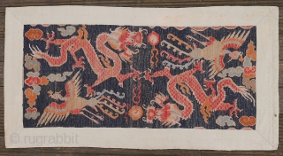 Stunning antique Tibetan Khaden depicting two dragons playing with the pearl of wisdom and two phoenixes. Late 19th century. Circa 156cm x 79cm