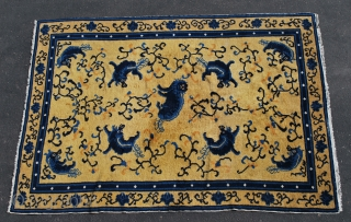 """Rare Antique Chinese Ningxia rug 5'5"""" x 7'9"""" With 9 Fo Dogs. Full Lustrous Pile with minor areas of wear (see photos). This Rare Rug came from an Estate in Spokane Washington that  ..."""