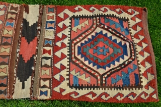 """Antique Varamin Kurd kilim khorjin. Circa 1900. 4 ft. 2 in. X 1 ft. 10-1/2 in. Natural colors. Very good condition. See Reinisch """"Sattel Taschen"""" Pl. 32 and Jenny Housego's """"Tribal Rugs""""  ..."""