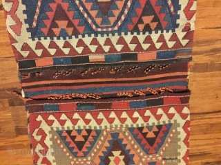 "Antique kilim khorjin, Kurds of Varamin.. 52"" X 21"". Circa 1900. All natural dyes. Complete and in excellent original untouched condition."