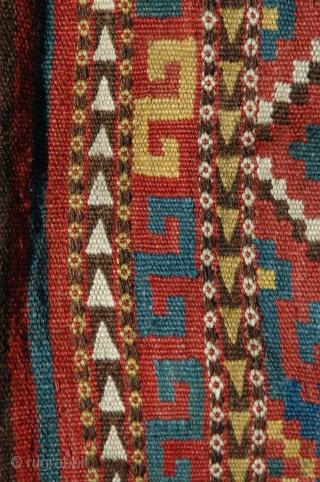 "Uzbeki 1/2 kilim khorjin. Circa 1900. 65"" X 33"".  Saturated natural dyes. Excellent condition. Ex Michael Craycraft."