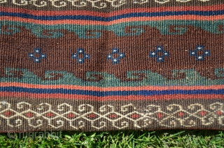 """Shahsavan of Varamin flat woven khorjin. 5'2""""X 2'1"""". Wool. All warm natural dyes. Circa 1900. Excellent condition. Similar to example in Tanavoli's """"Rustic and Tribal Weaves from Varamin"""" Pl. 45 p.76. Minute  ..."""