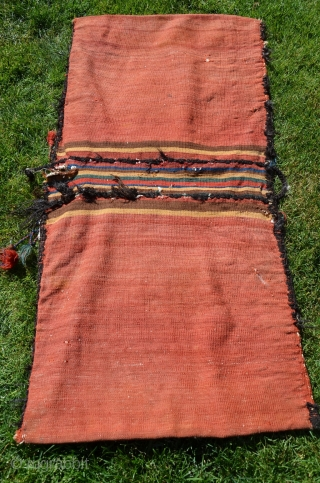 "Afshar flatwoven khorjin, 53"" X 26"". Early 20thC. Wool. Rare design and beautiful colors. Striped bridge, otherwise plainwoven madder red back. Excellent condition."