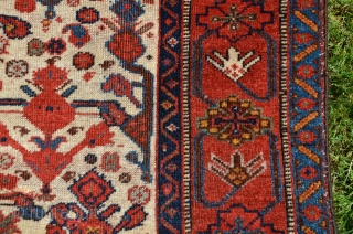 South Persian prayer rug (Khamseh-Beharlu) . 3 ft. 7-1/2 in. X 6 ft. 2 in. Wool. 19th C. Rare rug. Possibly one of 4 in existence. See Hali 3/97 #91 p. 137;  ...