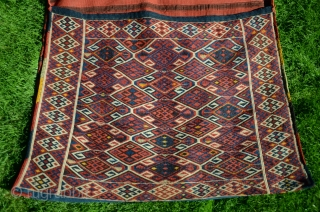 "NE Anatolian flatwoven (reciprocal brocade) khorjin. 5'3"" X 2'8"". Wool. Early 20thC. Beautiful natural dyes. Striped back. Incredibly fine workmanship, all complete and original."