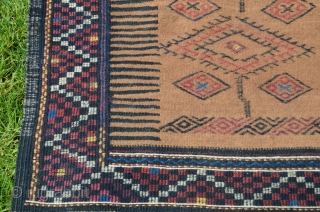 """Kordi sofreh. 2'6"""" X 7'8"""" . Circa 1910. Camel hair and wool. All natural colors. Brocaded designs on camel field. Original end and edge finishes. Excellent condition. Soft handle."""